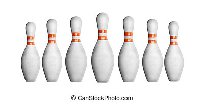 Bowling pins in a row isolated on white