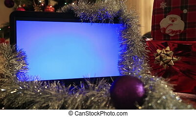 Laptop monitor with christmas decor - Chroma Key Laptop...