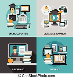 E-learning Flat Set - E-learning design concept set with...