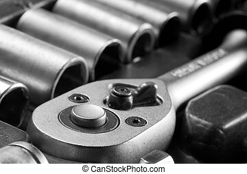 Construction tools set - Close-up view of steel construction...