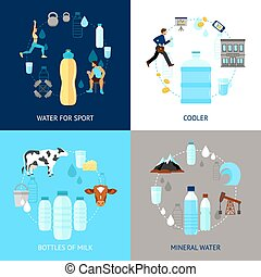 Plastic Bottle Set - Plastic bottle design concept set with...