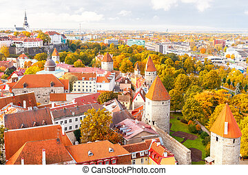 Tallinn Estonia Old city - Tallinn, Estonia View of the old...