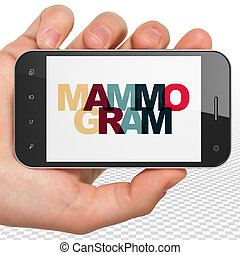 Healthcare concept: Hand Holding Smartphone with Mammogram...