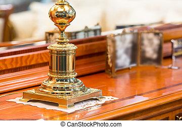 Precious statuette - Close up of precious statuette in home...
