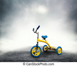 Yellow, kid's, bicycle