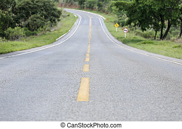 Asphalt road with curve - Auto asphalt road stretch down...