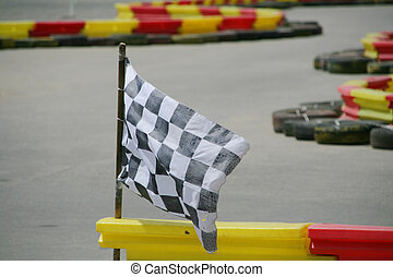 Checkered Flag - Checkered flag in rally track