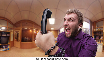 Angry man speaks on the phone - Angry businessman man...