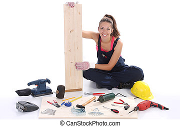 femme, charpentier, Travail, Outils