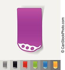 realistic design element pea pod - pea pod paper sticker...