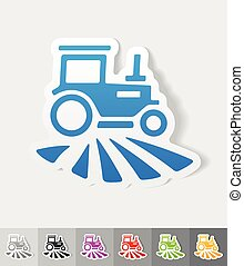 realistic design element. tractor - tractor paper sticker...