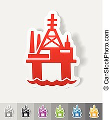 realistic design element. oil derrick in sea