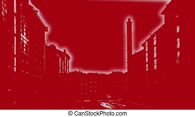 Bloody terror background - silhouettes of houses are...
