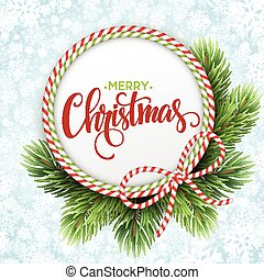 Christmas circle frame of fir branches. Vector illustration