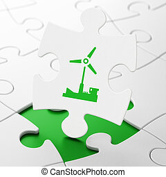 Industry concept: Windmill on puzzle background - Industry...