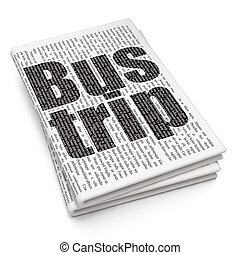 Tourism concept: Bus Trip on Newspaper background - Tourism...