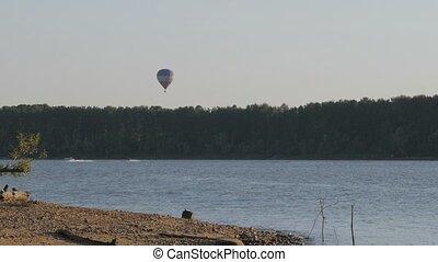 Hot  Air Balloon above lake