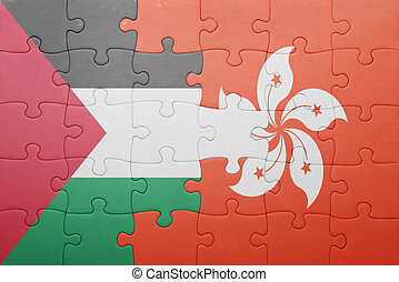 puzzle with the national flag of hong kong and palestine...