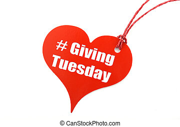 Giving Tuesday heart shape ticket. - Giving Tuesday red...