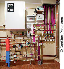 Heating system - Complex heating system with boiler, tubes...