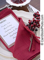 Thanksgiving Table Setting with Menu. - Happy Thanksgiving...