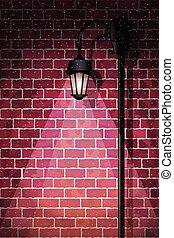 Street Light - Vintage streetlamp at winter night Layered...