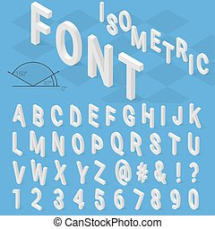 Isometric font alphabet with drop shadow on blue background...