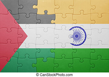puzzle with the national flag of india and palestine concept...