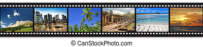 travel photos in a film strip - six travel photos in a film...