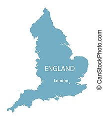 blue vector map of England with indication of London