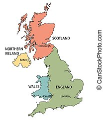colorful map of countries of United Kingdom with indication of capital cities