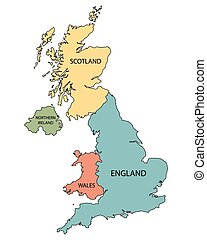 colorful map of countries of United Kingdom