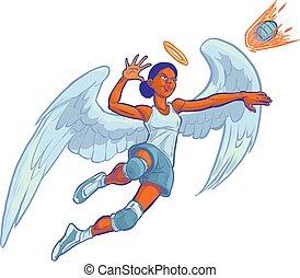 Girl Angel Volleyball Mascot