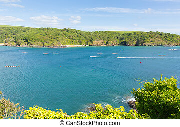 Salcombe Devon England UK coast view with pilot gig racing