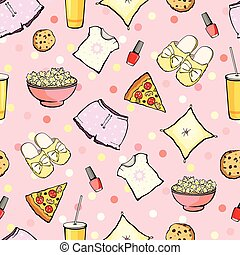 Vector Cute Sleepover Party Food Objects Seamless Pattern...