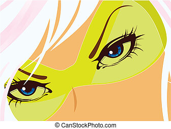 Blue eyes of the woman. Vector illustration