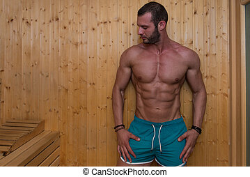 Attractive Man Resting Relaxed In Sauna - Happy Good Looking...