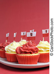 Polish red and white decorated cupcakes with Poland flags...