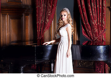 Beautiful bride in white dress - Beautiful young woman with...