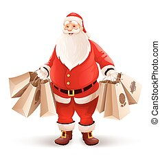 Merry Santa Claus with shopping bags buys gifts and sweets for Christmas