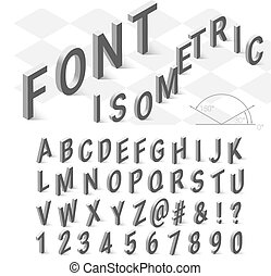 Isometric font alphabet with drop shadow on white background...