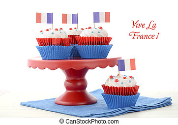 Happy Bastille Day Party Cupcakes - Red, white and blue...
