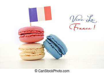 Happy Bastille Day Party Macarons - Happy Bastille Day red,...