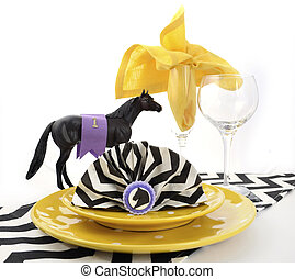 Yellow, black and white Racing Carnival Table Setting