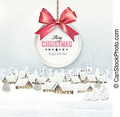 Holiday Christmas background with a village and  gift card with a red bow. Vector.