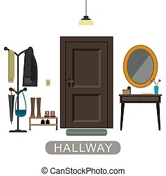 Hallway interior with door. - Hallway interior with...