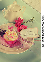 Retro vintage style Happy Mothers Day shabby chic aqua blue tray with pink cupcake and greeting tag.