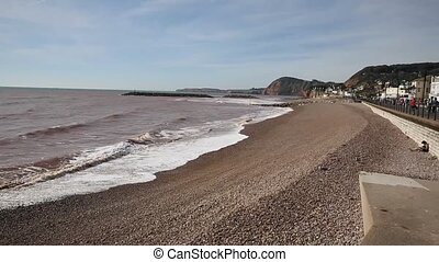 Sidmouth beach and coast west pan - Sidmouth beach and coast...