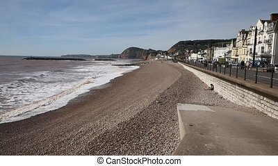 Sidmouth beach waves and seafront - Sidmouth beach and...