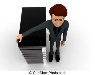 3d man presenting server concept